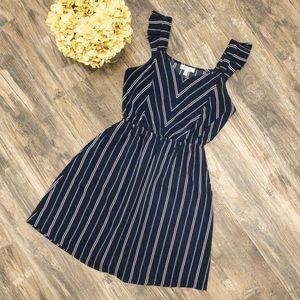 Navy and white ruffle sleeve dress - M